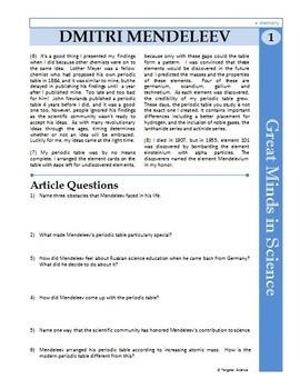 Dmitri Mendeleev - Great Minds in Science Article #1 - Science Literacy Sub Plan