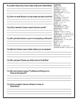 Donde esta Eduardo - Chapter 5 Comprehension Questions w/vocabulary