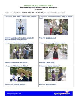 ¿Dónde están corazón?: Practice Questions With DÓNDE, ADÓNDE and DE DÓNDE
