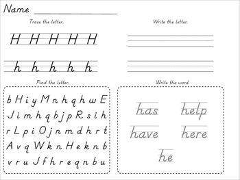 Dnealian Alphabet and Sight Word Tracing Beginning of School Year