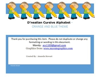 D'nealian Cursive Alphabet