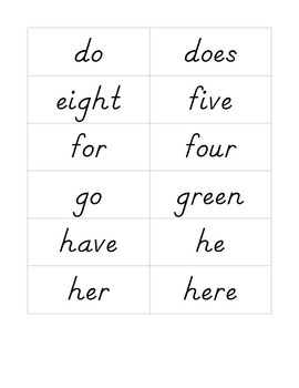 Dnealian Sight Word Ring