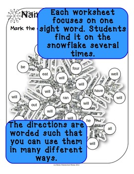 Do-A-Dot, Bingo Marker Activity, Dolch Primer Sight Words Snowflake Worksheets