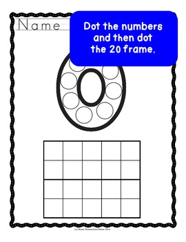 Do-A-Dot, Bingo Marker Worksheets 0-20 with Number and 20 Frame