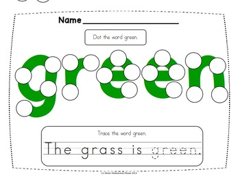 Do-A-Dot Early Color Word Activity - 9 Colors with 4 Styles of Worksheets!