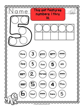 Do-A-Dot Number Worksheets 1-10 - Numbers, Ten Frames, and Number Words
