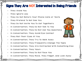 Signs They Don't Want To Be Friends: Activity for Social Skills Groups