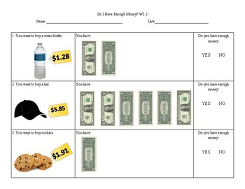 Do I Have Enough Money? Using 1 Dollar Bills