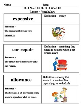 Ready Gen Do I Need It? Or Do I Want It? Vocabulary Lessons 1-4