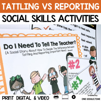 Social Story Tattling Print Digital Video For Distance Learning