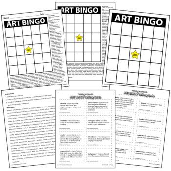 Do It Yourself Printable - Art Bingo Board Elements of Art Principles of Design