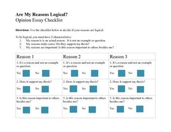 """Do My Reasons Make Sense"" Student Friendly Checklist"