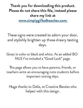 State Testing Door Signs, Do Not Disturb Signs