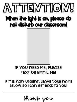 Do Not Disturb Light Switch Signs