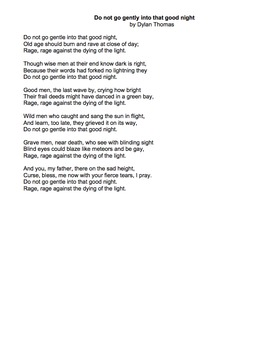 Do Not Go Gentle Into That Good Night by Dylan Thomas - writing & analysis