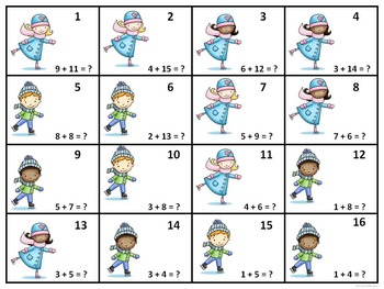 """Winter Ice Skating """"Addition and Subtraction"""" (Math Activities)"""