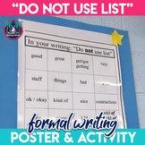 Word Choice Writing Lesson: Overused Word List Activity and Poster (Grades 6-12)