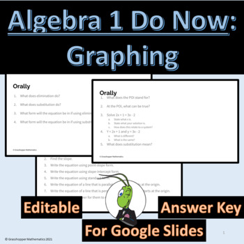 Do Now Algebra 1 Graphing Unit
