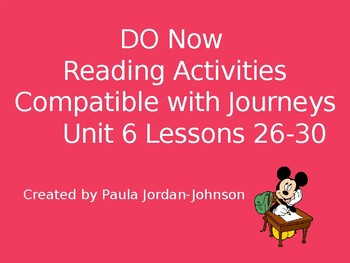 Journey's Unit 6 1st Grade- Do Now/Bell Work