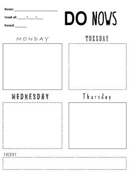 Do Now/ Bell Work Weekly Worksheet