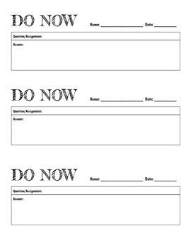 Do Now Bell-work Sheet