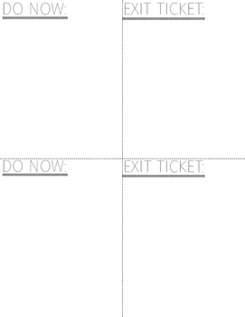 Do Now/Exit Ticket Template