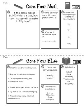 5th Grade ELA Morning Work and Math Morning Work