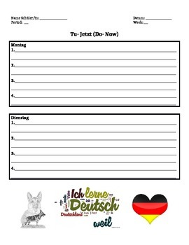 Do-Now Sheet for German Class