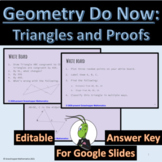 Do Now: Triangles Honors Geometry Google Slides