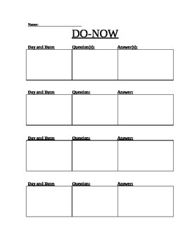 Do-Now Weekly Sheet