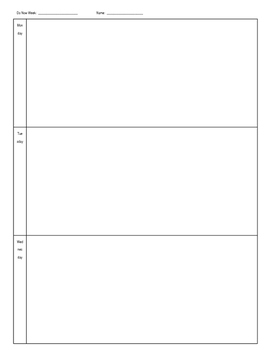 Do Now Weekly Template