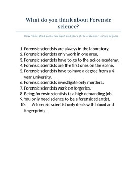 Do Now: What do you think about Forensic Science?