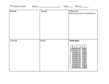 Do Now and Exit Ticket Template