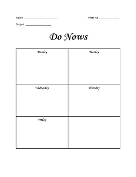 Do Now and Exit Ticket Weekly Grid