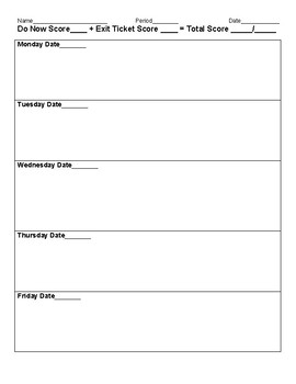 Do Now and Exit Ticket Worksheet