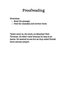 Do-Now for the fourth grade week 1 proofread