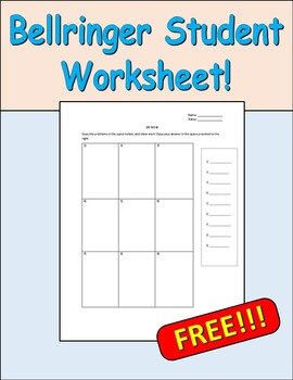 Do Now worksheet for Students