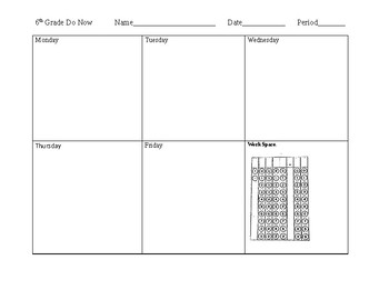Do Nows and Exit TIckets Templates
