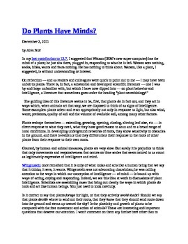 Do Plants Have Minds?  Common Core Reading Activity