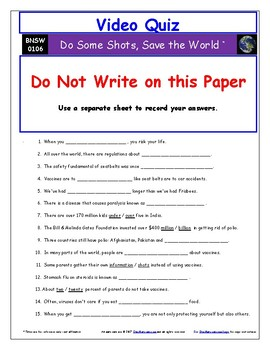 "Differentiated Video Guide, Quiz & Ans. for ""Do Some Shots, Save the World *"""