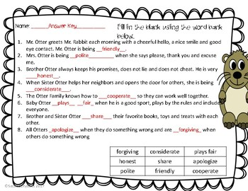 Do Unto Otters Comprehension Questions