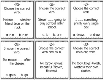 Subject / Verb Agreement Center Game