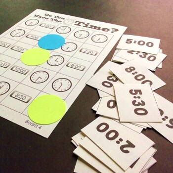 Telling Time Bingo- Do you have the time?