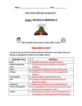 Do You Speak Rocks and Minerals? Vocabulary Builder Worksheets.