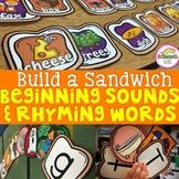 Rhyming Words & Beginning Sounds Literacy Centers:Do You Wanna Build a Sandwich?