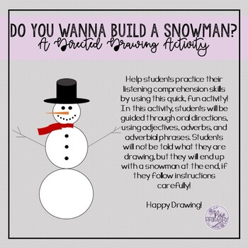 Do You Wanna Build a Snowman? Directed Drawing Activity