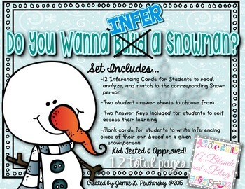 Do You Wanna INFER A Snowman?! Inferencing Activity for Elementary Students