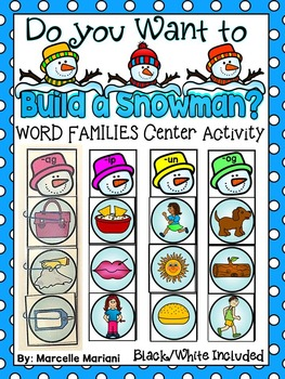 Do You Want To Build A Snowman? WORD FAMILIES LITERACY Center Activity