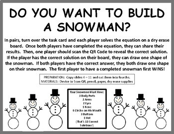 Do You Want to Build a Snowman?  2-Step Equation Practice