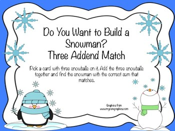Do You Want to Build a Snowman Three Addend Match